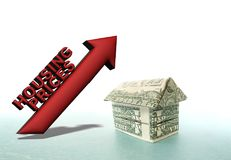 Increasing housing prices. 3D Housing Prices illustration with origami house made out of dollar bills stock illustration