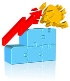 Increasing Jigsaw Chart. Three dimension style and high quality image Royalty Free Stock Images