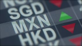 Increasing Mexican peso exchange rate indicator on computer screen. MXN forex ticker. 3D rendering stock photo