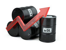 Increasing oil price - growing arrow up and oli barrels isolated on white Royalty Free Stock Photos