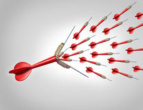 Increasing Opportunities. Increasing economic opportunities with innovation as a business concept as a red dart flying with the tip opening up and releasing a royalty free illustration
