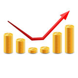 Increasing piles of coins with going up graph. Royalty Free Stock Photography
