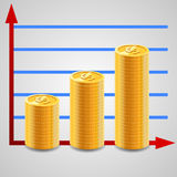 Increasing piles of coins with going up graph. Stock Images