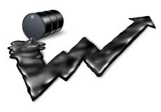 Increasing Price Of Oil. Concept as an gasoline drum spilling petroleum with the black liquid shaped as an upward stock market graph arrow as a metaphor for Stock Photography