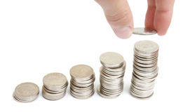Increasing profit. With coin stacks Royalty Free Stock Image