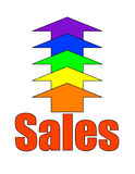 Increasing Sales. The word sales with rainbow-coloured arrows pointing upward Stock Photo