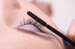 Increasing the size of eyelashes mascara Stock Photography