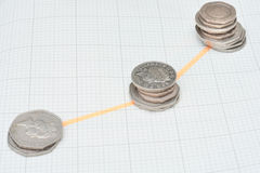 Increasing stacks of coins. In line Stock Image
