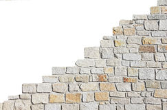 Increasing stone wall, isolated on white. Increasing stone wall, natural stones, isolated on white Stock Images