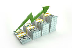Increasing value of Dollar. Increasing value of Dollar on white background Stock Photography