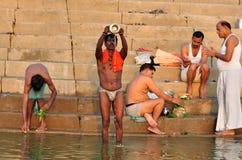 Incrediable Inida. People Praying & Washing on the Ganges River, Varanasi Stock Images