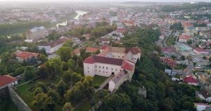 Incredible aerial view of the Uzhhorod Castle, Ukraine. Aerial view of the Uzhhorod Castle, Ukraine, 4k stock footage