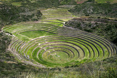 The incredible ancient circles of Moray in Peru. Stock Photography