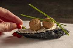 Incredible appetizer with foie gras, appetizer on black bread. royalty free stock images