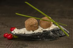 Incredible appetizer with foie gras, appetizer on black bread. royalty free stock photo