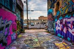 Incredible artwork in Graffiti Alley, Baltimore, Maryland. Royalty Free Stock Image