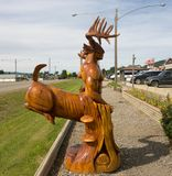 Imaginative wood carvings as seen on main street in Chetwynd, British Columbia. Incredible award-winning art lining the roads in a tiny town in northern canada royalty free stock photos