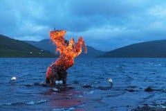 Incredible evening scene with luminous horse Nix Statue