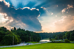 Incredible evening sky over a road and Lake Williams in York, Pe Stock Photography