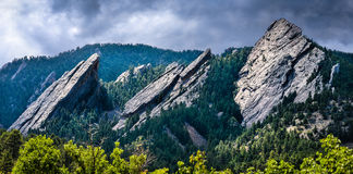 Incredible Flatiron Mountains of Colorado in the sun Royalty Free Stock Image