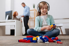 Incredible focused girl playing developing games Royalty Free Stock Photos
