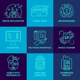 Incredible future technologies line icon set. Stock Images