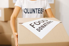 Incredible generous woman canvassing donations Royalty Free Stock Photos