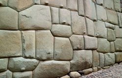 Incredible Inca Wall on Hatun Rumiyoc Street, Famous Ancient Street in Cusco, Peru, South America, Archaeological site stock photos