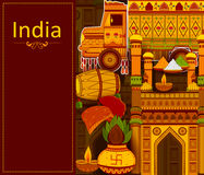 Incredible India background depicting Indian colorful culture and religion Royalty Free Stock Photos