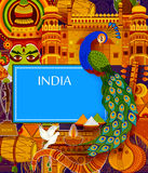 Incredible India background depicting Indian colorful culture and religion. In vector Royalty Free Stock Image
