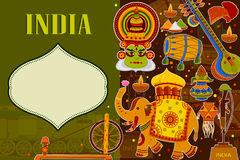 Incredible India background depicting Indian colorful culture and religion. In vector Stock Photos