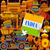 Incredible India background depicting Indian colorful culture and religion. In vector Royalty Free Stock Photo