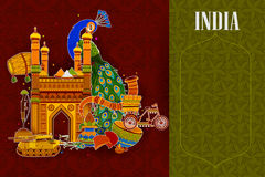 Incredible India background depicting Indian colorful culture and religion. In vector Royalty Free Stock Photos