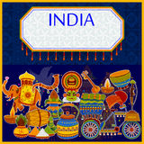Incredible India background depicting Indian colorful culture and religion. In vector Stock Photo