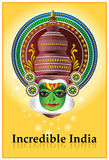 Incredible India - Kathakali poster. A  poster with the face of an an Indian theatre dancer/ character 'Kathakali' depicting the beauty of Indian culture Royalty Free Stock Photos