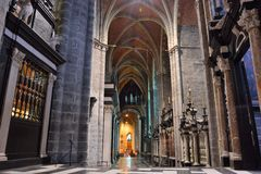 Incredible interior of a Medieval christian church Royalty Free Stock Image