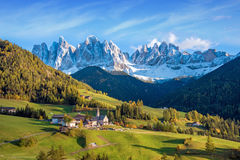 Incredible landscape with the church in the valley of Santa Magd Royalty Free Stock Images
