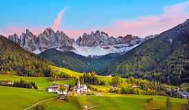 Incredible landscape with the church in the valley of Santa Magd Stock Photo