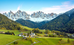 Incredible landscape with the church in the valley of Santa Magd Stock Photography