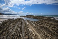 Flysh Cliffs in the town of Zumaia royalty free stock images