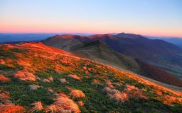 The incredible landscape with the sunrise high in the mountains. Nice view for nature lovers. Beautifu morning scenery. Location place Ukraine, Europe stock photography