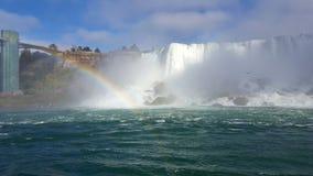 Waterfalls Rainbow Landscapes Niagara Falls , Toronto. Incredible Landscapes of the natural Niagara Falls with a rainbow Stock Photo