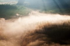 Incredible misty autumn landscape. Royalty Free Stock Photos