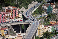 Incredible motorway junction. In Salerno Italy royalty free stock images