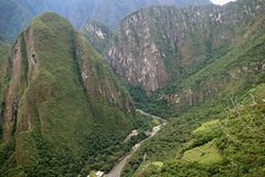 Incredible mountain ranges and the town of Aguas Calientes view from Huayna Picchu mountain, Cusco Region, Peru. Incredible mountain ranges and the town of Aguas royalty free stock images