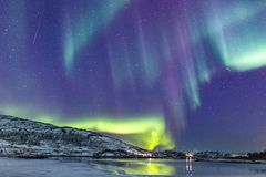 Northern lights in Northern Norway stock image
