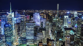 Incredible NY night view from above. Manhattan Business District. Aerial shot of new york city skyline at night. iconic metropolis urban background. high rise stock footage