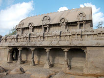 The incredible Rathas of Mahabalipuram. Mahabalipuram is a coastal town approximately 65km south of Chennai in South India.  It has many religious relics that Royalty Free Stock Photography