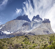 Incredible rock formation of Los Cuernos in Chile. The Horns in National Park Torres del Paine, Chile Stock Images