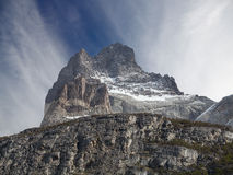 Incredible rock formation of Los Cuernos in Chile. The Horns in National Park Torres del Paine, Chile stock photography